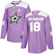 Cheap Adidas Stars #18 Jason Dickinson Purple Authentic Fights Cancer Youth Stitched NHL Jersey