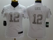 Wholesale Cheap Nike Colts #12 Andrew Luck White Women's Stitched NFL Limited Platinum Jersey