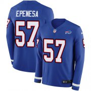 Wholesale Cheap Nike Bills #57 A.J. Epenesas Royal Blue Team Color Youth Stitched NFL Limited Therma Long Sleeve Jersey