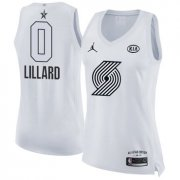 Wholesale Cheap Nike Portland Trail Blazers #0 Damian Lillard White Women's NBA Jordan Swingman 2018 All-Star Game Jersey
