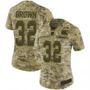 Wholesale Cheap Nike Browns #32 Jim Brown Camo Women's Stitched NFL Limited 2018 Salute to Service Jersey