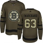 Wholesale Cheap Adidas Bruins #63 Brad Marchand Green Salute to Service Youth Stitched NHL Jersey