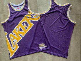 Wholesale Cheap Men\'s Los Angeles Lakers Purple Big Face Mitchell Ness Hardwood Classics Soul Swingman Throwback Jersey