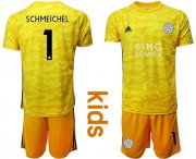 Wholesale Cheap Leicester City #1 Schmeichel Yellow Goalkeeper Kid Soccer Club Jersey