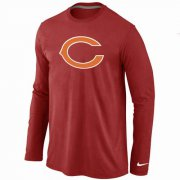 Wholesale Cheap Nike Chicago Bears Logo Long Sleeve T-Shirt Red