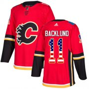 Wholesale Cheap Adidas Flames #11 Mikael Backlund Red Home Authentic USA Flag Stitched Youth NHL Jersey