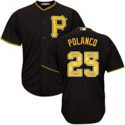 Wholesale Cheap Pirates #25 Gregory Polanco Black Team Logo Fashion Stitched MLB Jersey