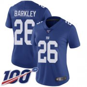 Wholesale Cheap Nike Giants #26 Saquon Barkley Royal Blue Team Color Women's Stitched NFL 100th Season Vapor Limited Jersey