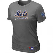 Wholesale Cheap Women's New York Mets Nike Short Sleeve Practice MLB T-Shirt Crow Grey