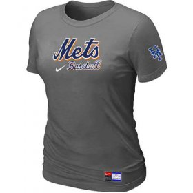 Wholesale Cheap Women\'s New York Mets Nike Short Sleeve Practice MLB T-Shirt Crow Grey