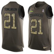 Wholesale Cheap Nike Chargers #21 LaDainian Tomlinson Green Men's Stitched NFL Limited Salute To Service Tank Top Jersey
