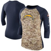 Wholesale Cheap Women's Los Angeles Chargers Nike Camo Navy Salute to Service Legend Three-Quarter Raglan Sleeve T-Shirt
