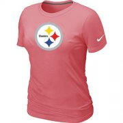 Wholesale Cheap Women's Nike Pittsburgh Steelers Pink Logo T-Shirt