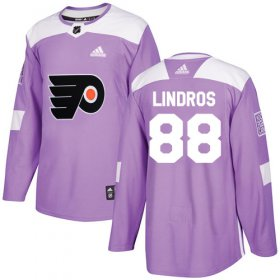 Wholesale Cheap Adidas Flyers #88 Eric Lindros Purple Authentic Fights Cancer Stitched Youth NHL Jersey