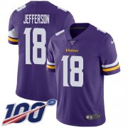 Wholesale Cheap Nike Vikings #18 Justin Jefferson Purple Team Color Men's Stitched NFL 100th Season Vapor Untouchable Limited Jersey
