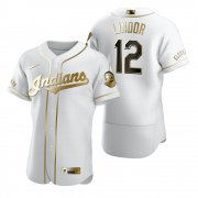 Wholesale Cheap Cleveland Indians #12 Francisco Lindor White Nike Men's Authentic Golden Edition MLB Jersey