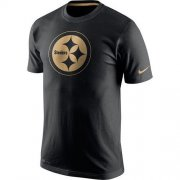 Wholesale Cheap Men's Pittsburgh Steelers Nike Black Championship Drive Gold Collection Performance T-Shirt