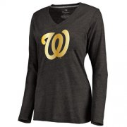 Wholesale Cheap Women's Washington Nationals Gold Collection Long Sleeve V-Neck Tri-Blend T-Shirt Black
