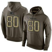 Wholesale Cheap NFL Men's Nike Oakland Raiders #80 Jerry Rice Stitched Green Olive Salute To Service KO Performance Hoodie