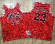 Wholesale Cheap Men's Chicago Bulls #23 Michael Jordan 1996-97 Red Split Hardwood Classics Soul AU Throwback Jersey