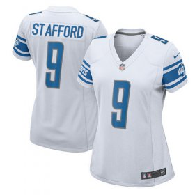 Wholesale Cheap Nike Lions #9 Matthew Stafford White Women\'s Stitched NFL Elite Jersey