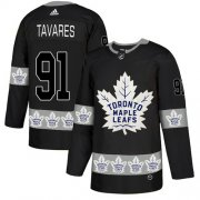 Wholesale Cheap Adidas Maple Leafs #91 John Tavares Black Authentic Team Logo Fashion Stitched NHL Jersey