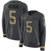 Wholesale Cheap Nike Browns #5 Case Keenum Anthracite Salute to Service Women's Stitched NFL Limited Therma Long Sleeve Jersey