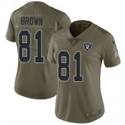 Wholesale Cheap Nike Raiders #81 Tim Brown Olive Women's Stitched NFL Limited 2017 Salute to Service Jersey