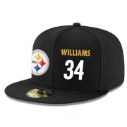 Wholesale Cheap Pittsburgh Steelers #34 DeAngelo Williams Snapback Cap NFL Player Black with White Number Stitched Hat
