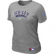 Wholesale Cheap Women's Boston Red Sox Nike Short Sleeve Practice MLB T-Shirt Light Grey