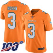 Wholesale Cheap Nike Dolphins #3 Josh Rosen Orange Men's Stitched NFL Limited Rush 100th Season Jersey