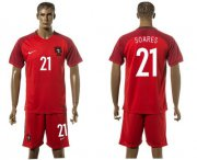 Wholesale Cheap Portugal #21 Soares Home Soccer Country Jersey