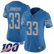 Wholesale Cheap Nike Lions #33 Kerryon Johnson Blue Team Color Women's Stitched NFL 100th Season Vapor Limited Jersey