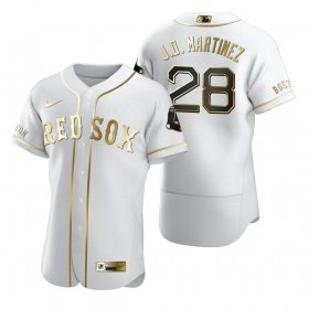 Wholesale Cheap Boston Red Sox #28 J.D. Martinez White Nike Men\'s Authentic Golden Edition MLB Jersey