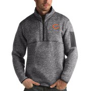 Wholesale Cheap Men's Chicago Bears Charcoal Antigua Fortune Quarter-Zip Pullover Jacket
