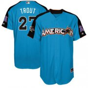 Wholesale Cheap Angels of Anaheim #27 Mike Trout Blue 2017 All-Star American League Stitched MLB Jersey