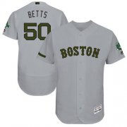 Wholesale Cheap Red Sox #50 Mookie Betts Grey Flexbase Authentic Collection Memorial Day Stitched MLB Jersey