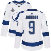 Cheap Adidas Lightning #9 Tyler Johnson White Road Authentic Women's 2020 Stanley Cup Champions Stitched NHL Jersey
