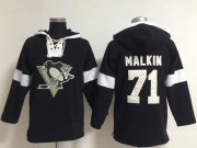 Wholesale Cheap Penguins #71 Evgeni Malkin Black NHL Pullover Hoodie