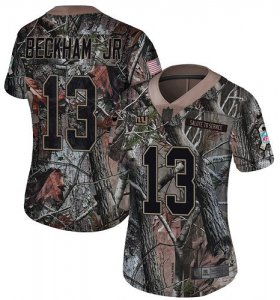 Wholesale Cheap Nike Giants #13 Odell Beckham Jr Camo Women\'s Stitched NFL Limited Rush Realtree Jersey