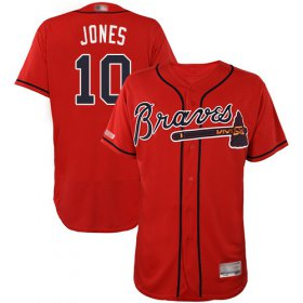 Wholesale Cheap Braves #10 Chipper Jones Red Flexbase Authentic Collection Stitched MLB Jersey