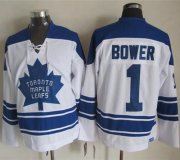 Wholesale Cheap Maple Leafs #1 Johnny Bower White CCM Throwback Third Stitched NHL Jersey