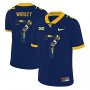 Wholesale Cheap West Virginia Mountaineers 7 Daryl Worley Navy Fashion College Football Jersey