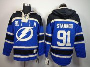 Wholesale Cheap Lightning #91 Steven Stamkos Blue Sawyer Hooded Sweatshirt Stitched NHL Jersey