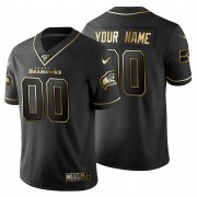Wholesale Cheap Seattle Seahawks Custom Men's Nike Black Golden Limited NFL 100 Jersey