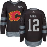 Wholesale Cheap Adidas Flames #12 Jarome Iginla Black 1917-2017 100th Anniversary Stitched NHL Jersey