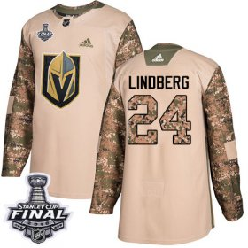 Wholesale Cheap Adidas Golden Knights #24 Oscar Lindberg Camo Authentic 2017 Veterans Day 2018 Stanley Cup Final Stitched Youth NHL Jersey