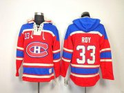 Wholesale Cheap Canadiens #33 Patrick Roy Red Sawyer Hooded Sweatshirt Stitched NHL Jersey