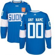 Wholesale Cheap Men's Adidas Team Finland Personalized Authentic Blue Road 2016 World Cup NHL Jersey