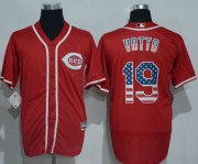 Wholesale Cheap Reds #19 Joey Votto Red USA Flag Fashion Stitched MLB Jersey